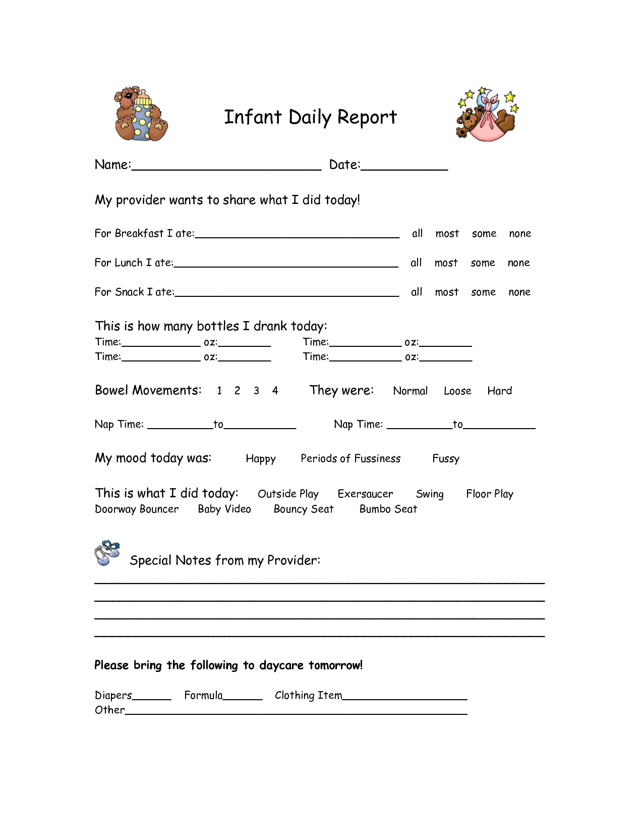Daycare Sheet  All About My Day Id Like To Have The Kids Fill