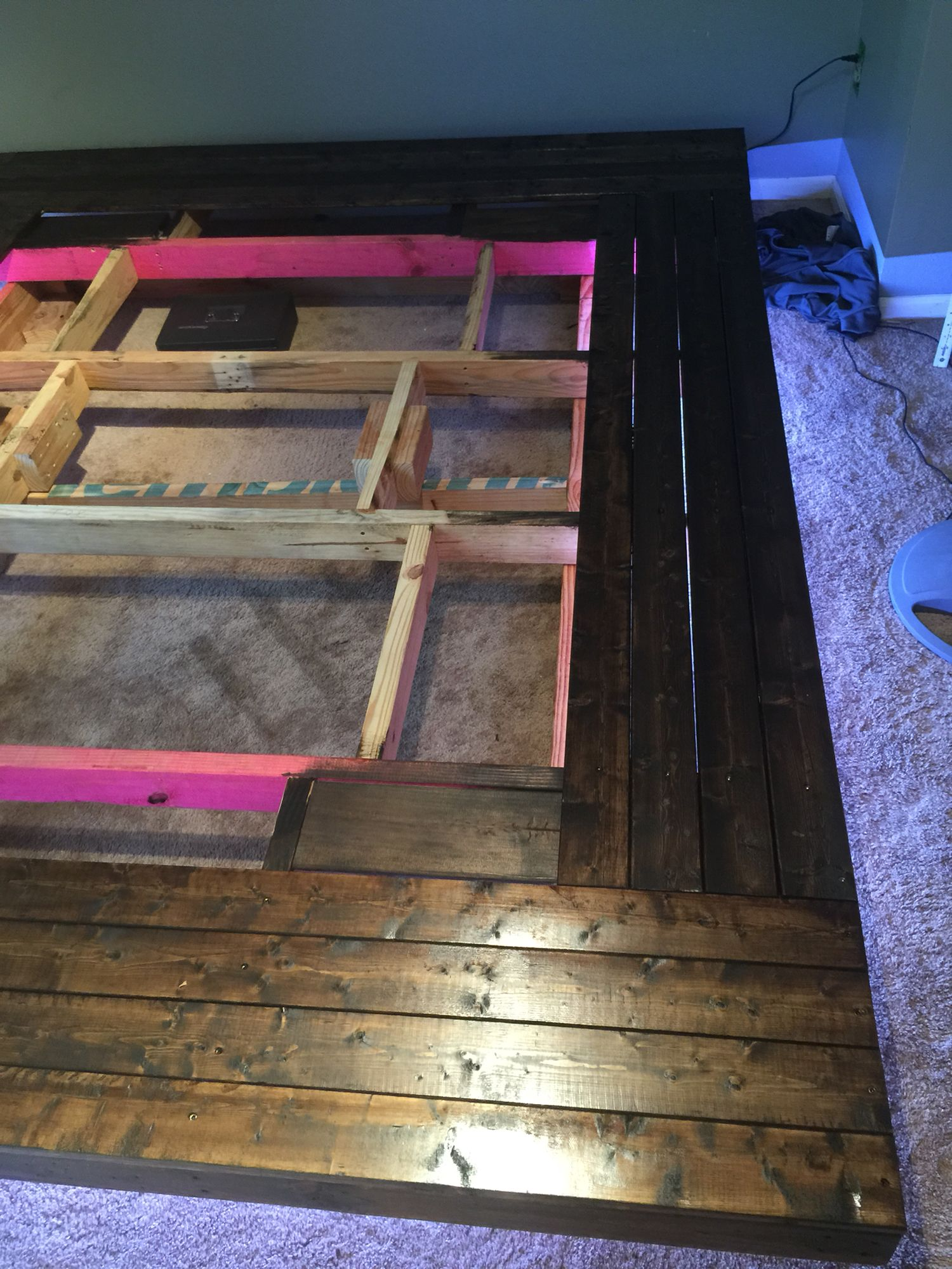 My version of the floating bed frame w/ color changing LED