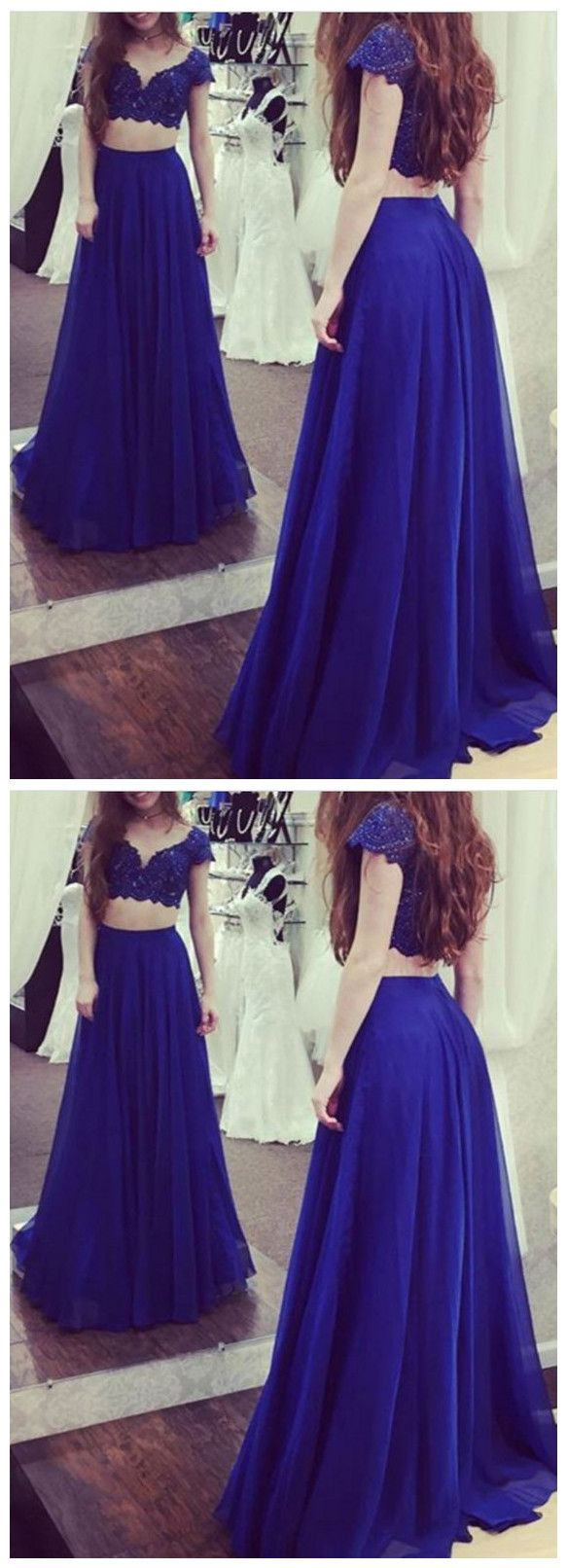 Charming navy two pieces short sleeves long prom anneprom