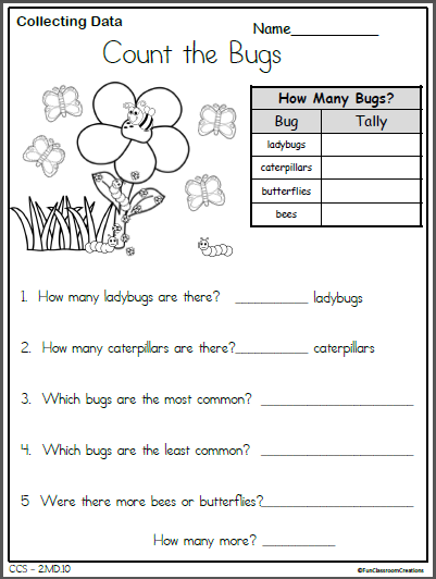 spring bugs data collection worksheet graphing and data collection preschool worksheets. Black Bedroom Furniture Sets. Home Design Ideas