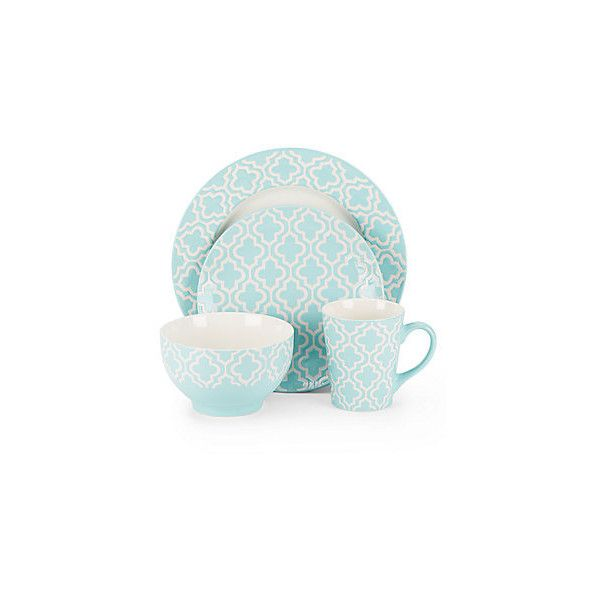 American Atelier Quatre Teal Dinnerware Set ($54) ❤ liked on Polyvore featuring home  sc 1 st  Pinterest & American Atelier Quatre Teal Dinnerware Set ($54) ❤ liked on ...