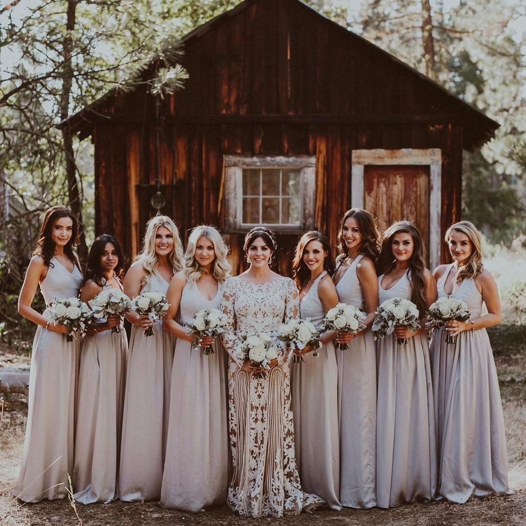 Katie maloneys rustic bridal party wore effortlessly chic katie maloneys rustic bridal party wore effortlessly chic bridesmaid dresses by white by vera wang ombrellifo Choice Image