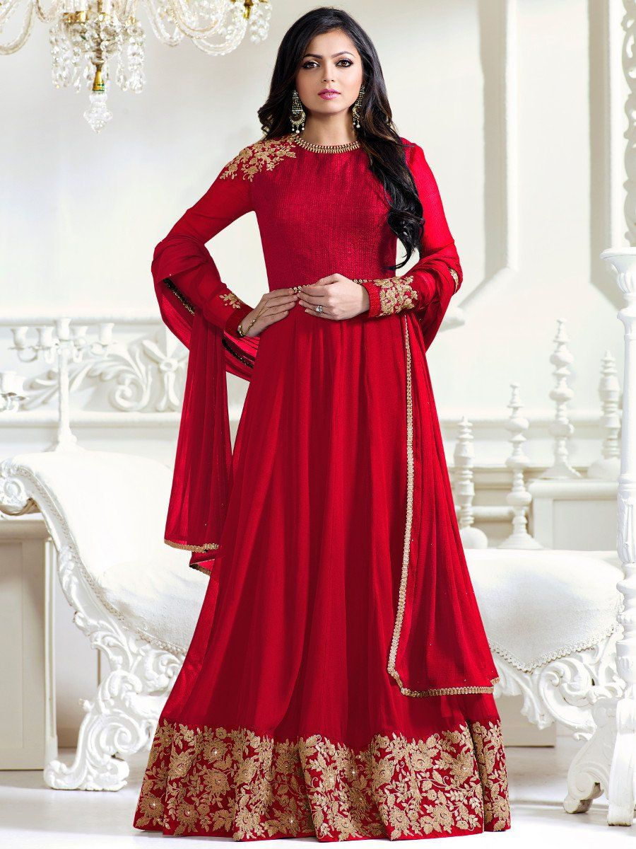 bb729db28 Shop Drashti Dhami red color georgette party wear anarkali kameez online at  kollybollyethnics from India with free worldwide shipping.