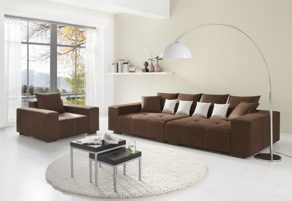 Beautiful Brown Color Modern Minimalist Style Big Sofas Design In White Living Room I Luxury Living Room Decor Decor Accents Living Room Brown Sofa Living Room