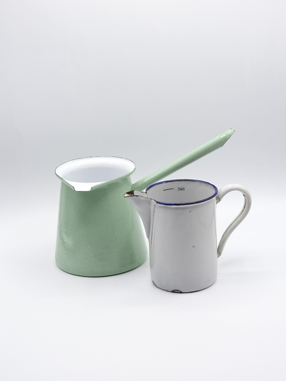 Vintage Enamel Milk Pan and Measuring Cup Vintage