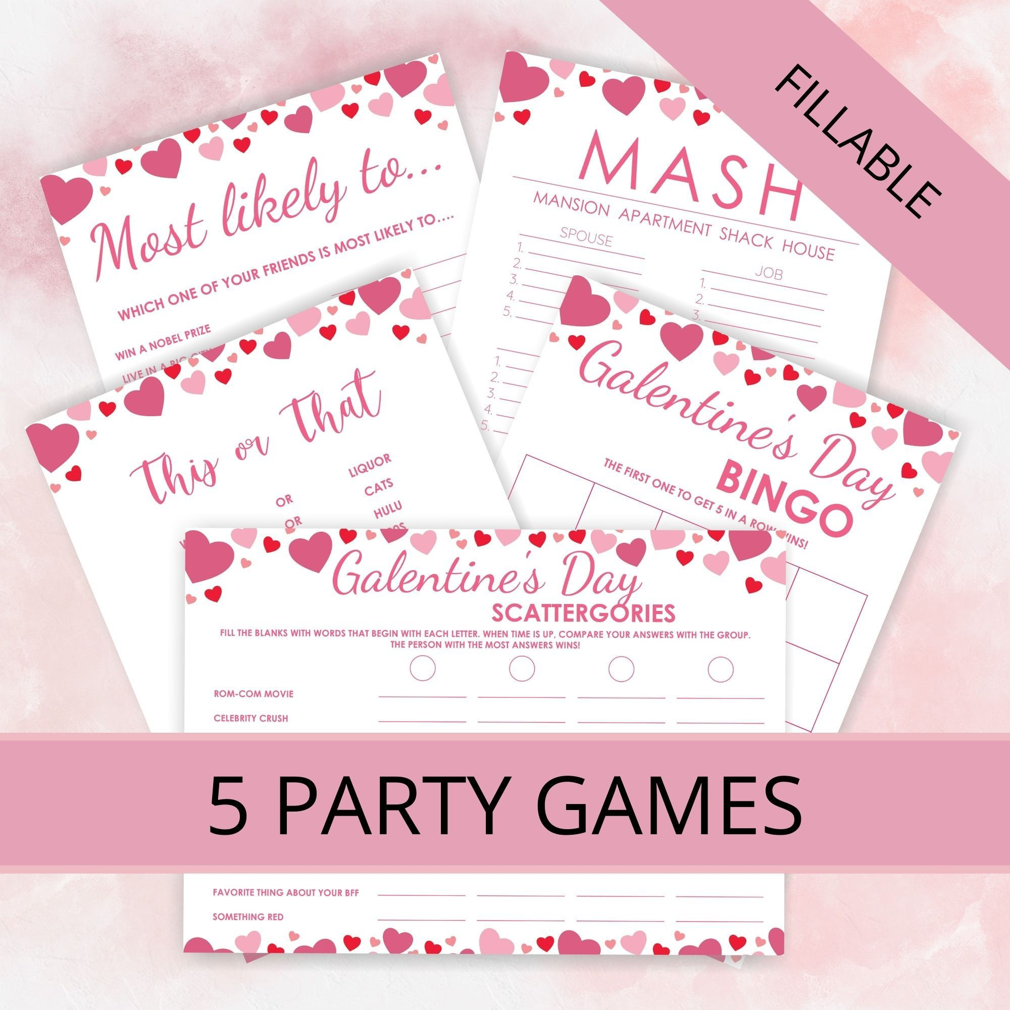 Galentine S Day Game Bundle Fillable Galentines Party Etsy In 2021 Galentines Party Galentines Day Ideas Galentines