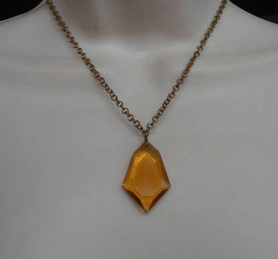 Art Deco Golden Topaz Faceted Glass Necklace by LynnHislopJewels