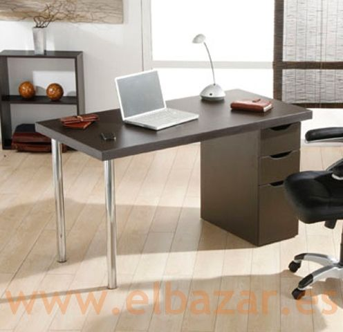 Mesa escritorio/oficina Croca, MDF wengue, cajonera | oficina ...