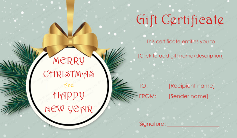 Tree Badge Christmas Gift Certificate Template #giftcertificate #giftcoupon  #editablegiftcard #merry #chirstmas  Christmas Gift Card Template