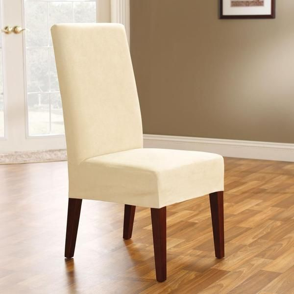 sure fit soft suede cream short dining chair cover | dining room