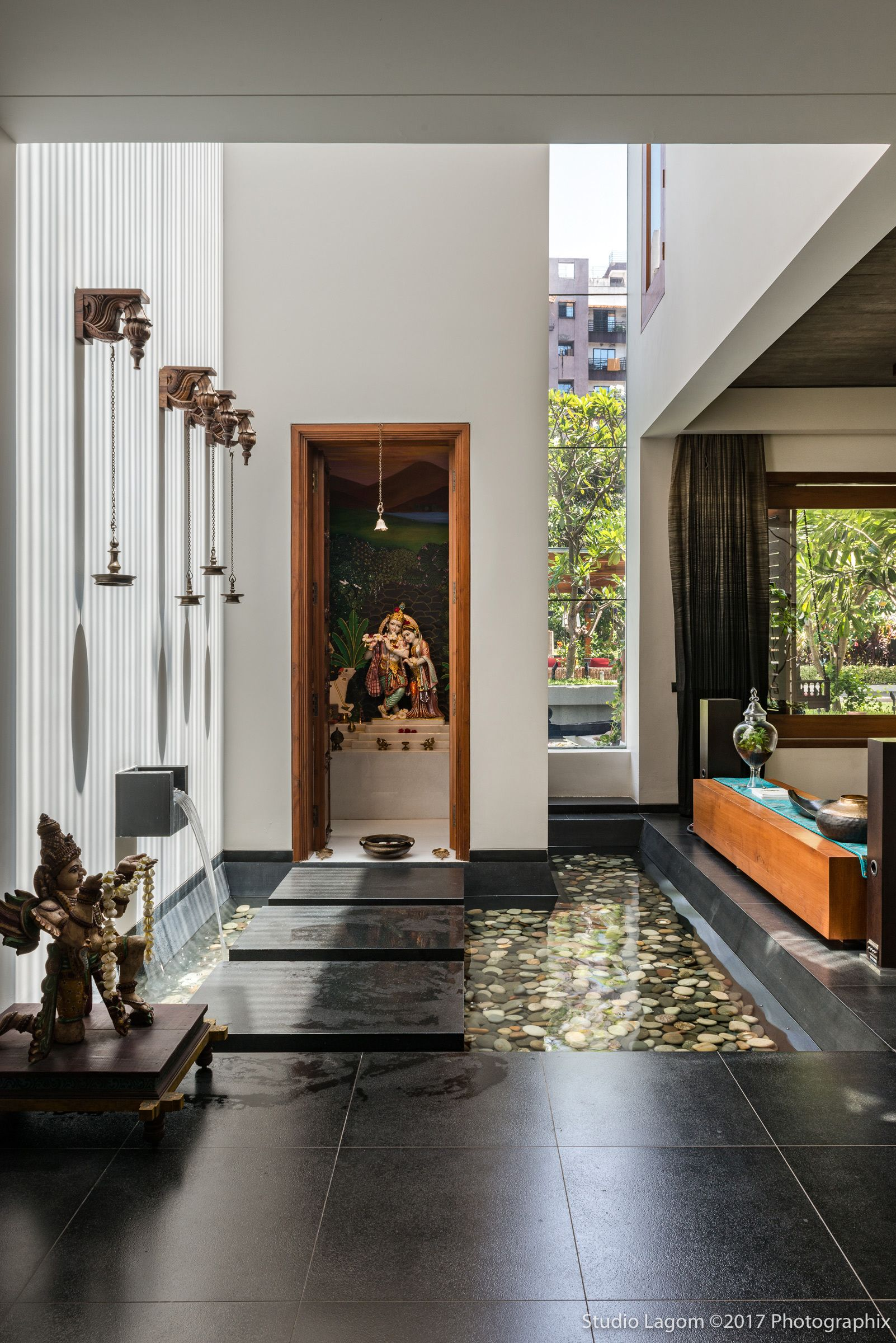 9 Traditional Pooja Room Door Designs In 2020: Gallery Of Skewed House / Studio Lagom