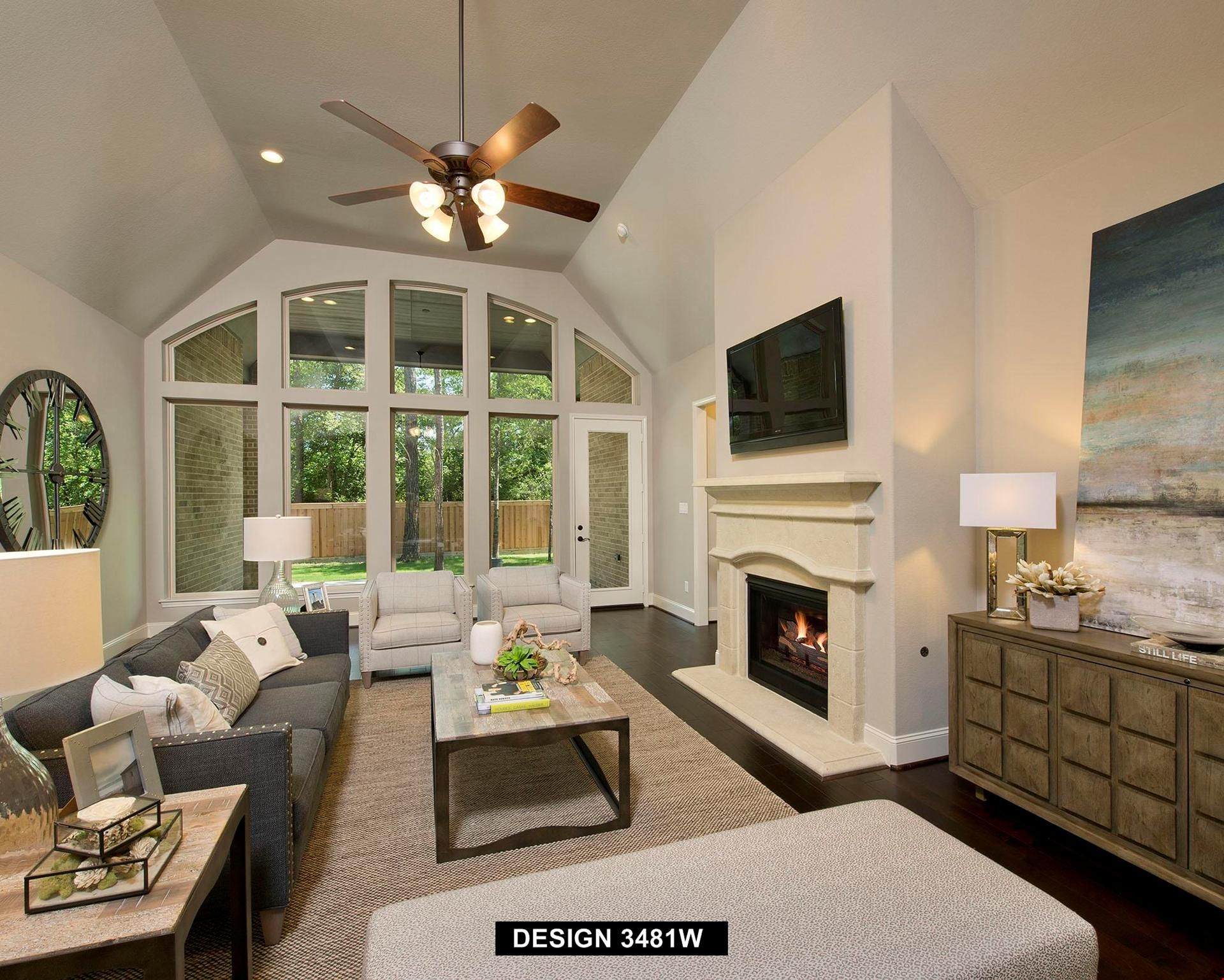 A wall of windows brings the outdoors in. Plan 3481W, a new home ...