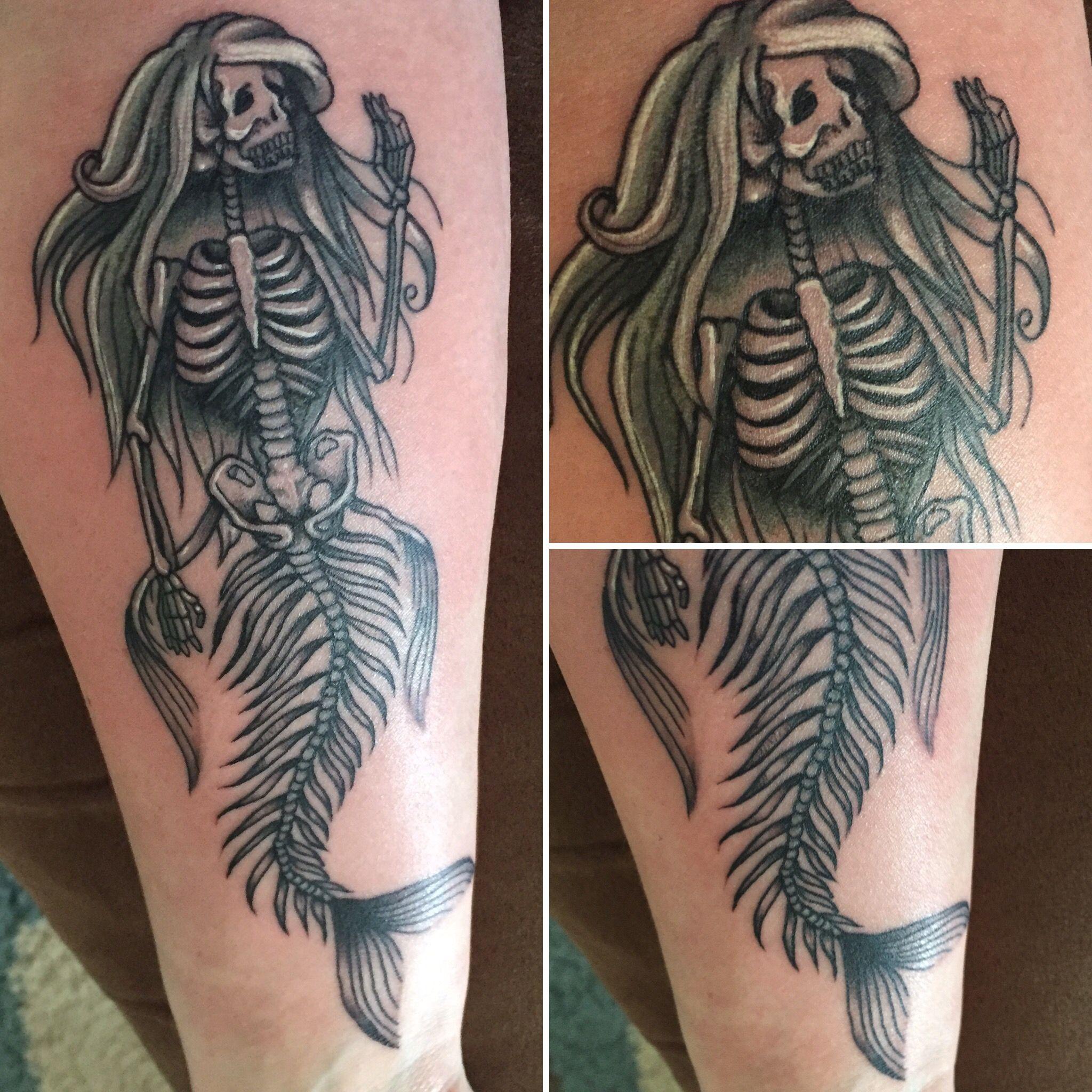 Mermaid skeleton tattoo tattoo ideas pinterest for Mermaid tattoos pinterest