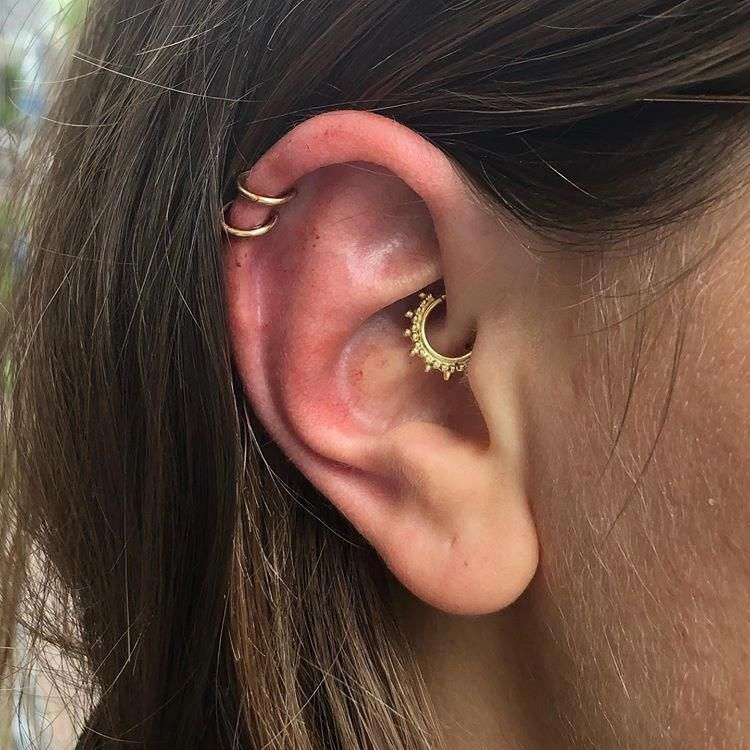 Daith Piercing Tragus Nostril Rook Conch Solid 14K Yellow Gold Double Layered Septum Ring Hoop Helix Solid 14 Karat Gold