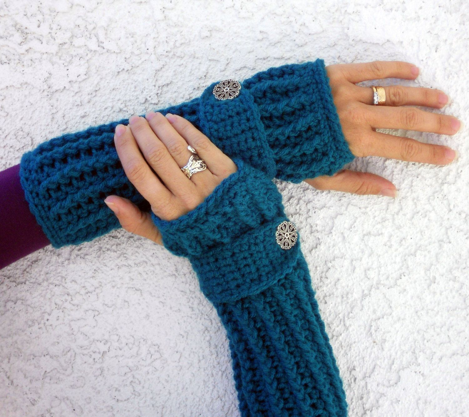Teal, arm warmers, fingerless gloves, texting gloves, crochet gloves ...