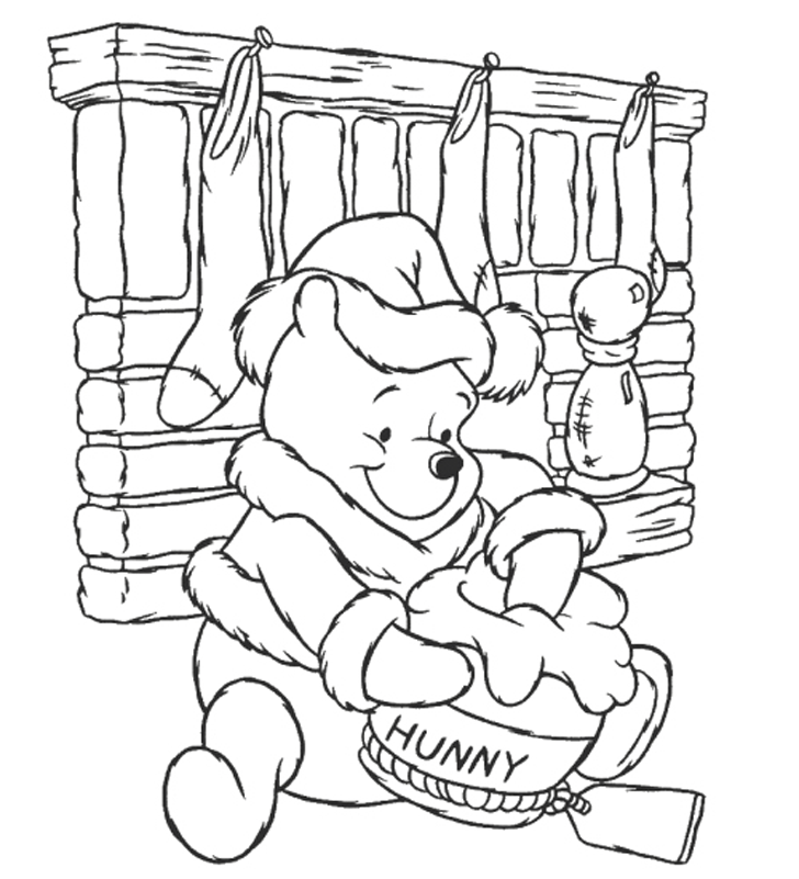 Christmas Winnie Pooh  Honey Colororing Pages  Christmas