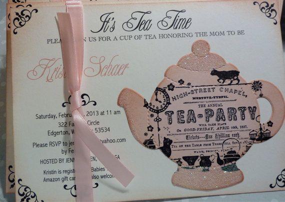 Baby Shower Tea Party Invitation   Vintage Elegant Set Of 10