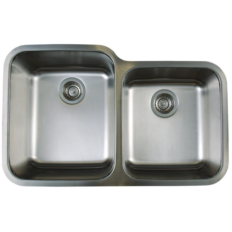Blanco 441023 Refined Brushed Stellar 1 3 4 Dual Bowl Stainless Steel Kitchen Sink 32 1 3 X 20 1 2 Double Bowl Kitchen Sink Double Bowl Undermount Kitchen Sink Sink
