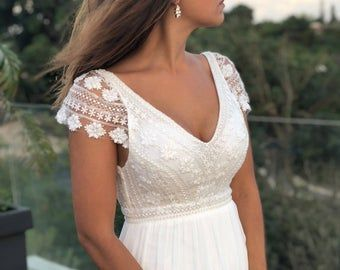 Vestido de mujer de manga corta, vintage, marfil, inspirador BOHO, escote barco, crochet, gasa, encaje geométrico, boda en la playa, KALA  – Boda