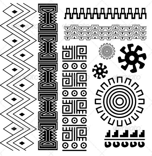 Ancient American Pattern Decorative Symbols Decorative Scratch
