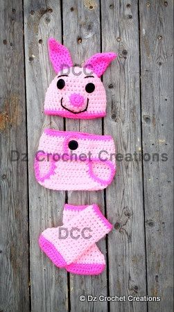 Crochet Piglet Diaper Cover set/Photo Prop. $22.00, via Etsy.