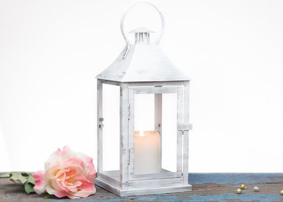 Snow White with Silver - Outdoor Lantern - Shabby Cottage Chic Decoration Lantern - Wedding, Party, Holiday Decoration - OVS