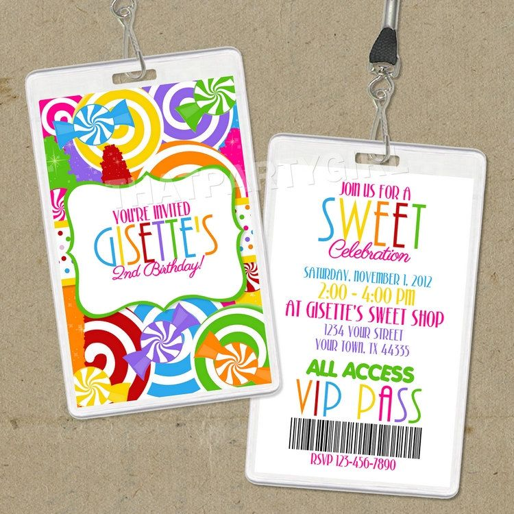 Diy candy shop birthday party invitations vip pass digital u print diy candy shop birthday party invitations vip pass digital u print stopboris Images