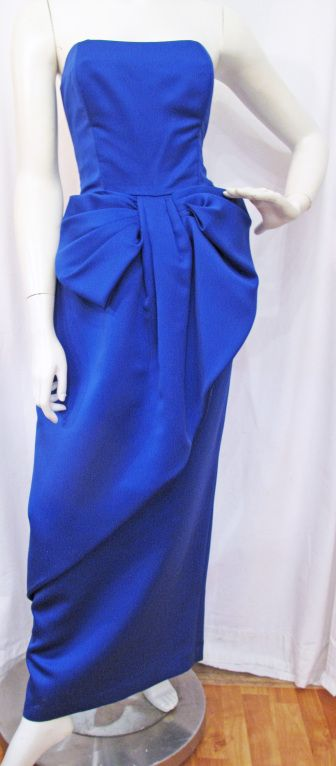 Victor Costa Electric Blue Strapless Bow Gown | From a collection of rare vintage evening dresses at http://www.1stdibs.com/fashion/clothing/evening-dresses/