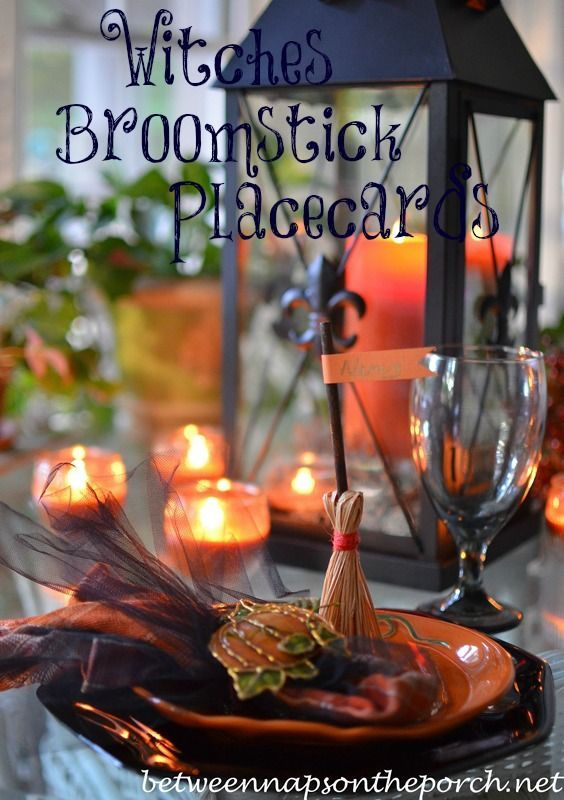 Broomstick Place Cards for Your Halloween Tablescape Place card - halloween table setting ideas