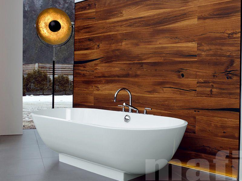 Massief Parket Badkamer : Mooie vloer voor in de badkamer wand is afgewerkt met oud hout