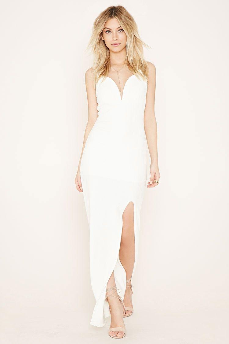 Textured Front Slit Maxi Dress Forever 21 2000170408 Tailor