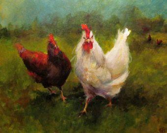 Pittura di pollo - pollo approccio Giclee tela o carta stampa di un dipinto originale