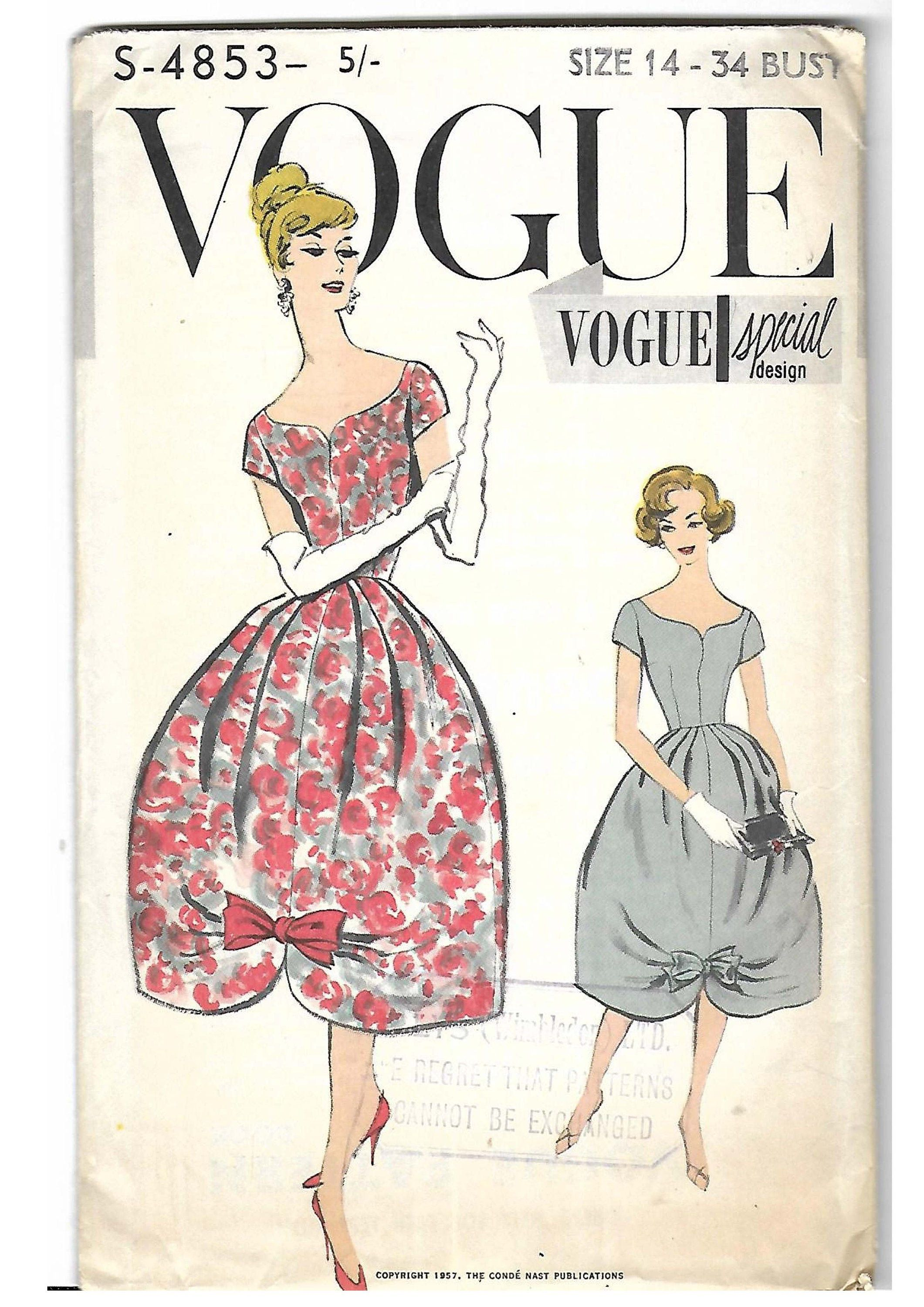 Vintage 1950 S Sewing Pattern Vogue Special Design S 4583 Evening