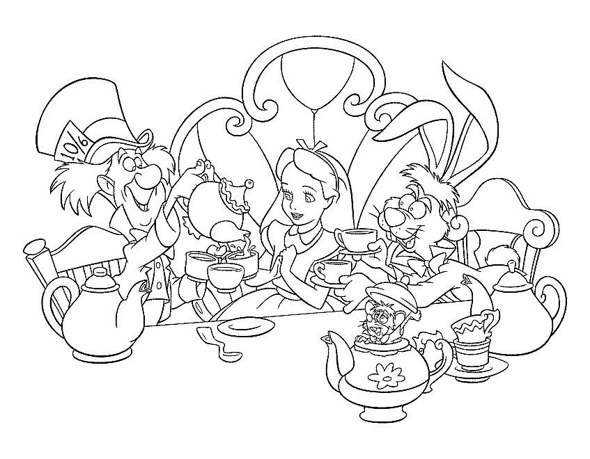 Alice i Eventyrland Tegninger til Farvelægning 9 | coloring pages ...