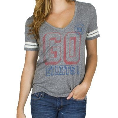 junk food new york giants ladies tailgate v-neck tri-blend t-shirt ... 538563c37