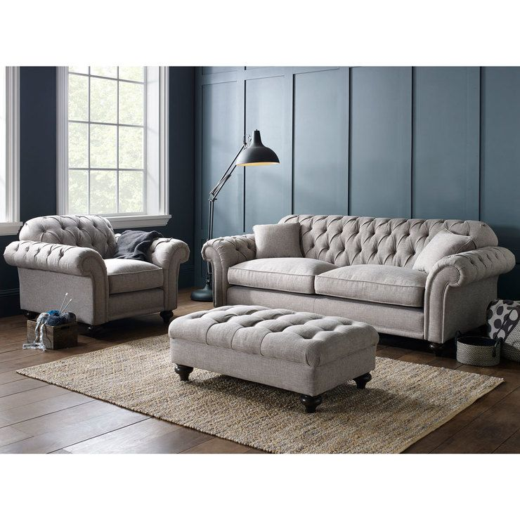 Bordeaux Button Back 4 Seater Grey Fabric Sofa With 2 Accent Pillows Living Room Redesign Grey Fabric Sofa Pallet Sofa Tables