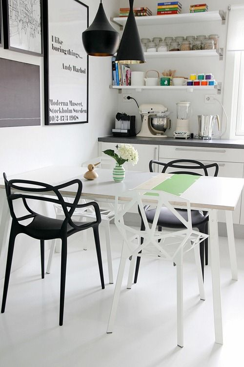 Esszimmerstühle Calligaris Masters Chair By Kartell (black) And Alchemia Chair By