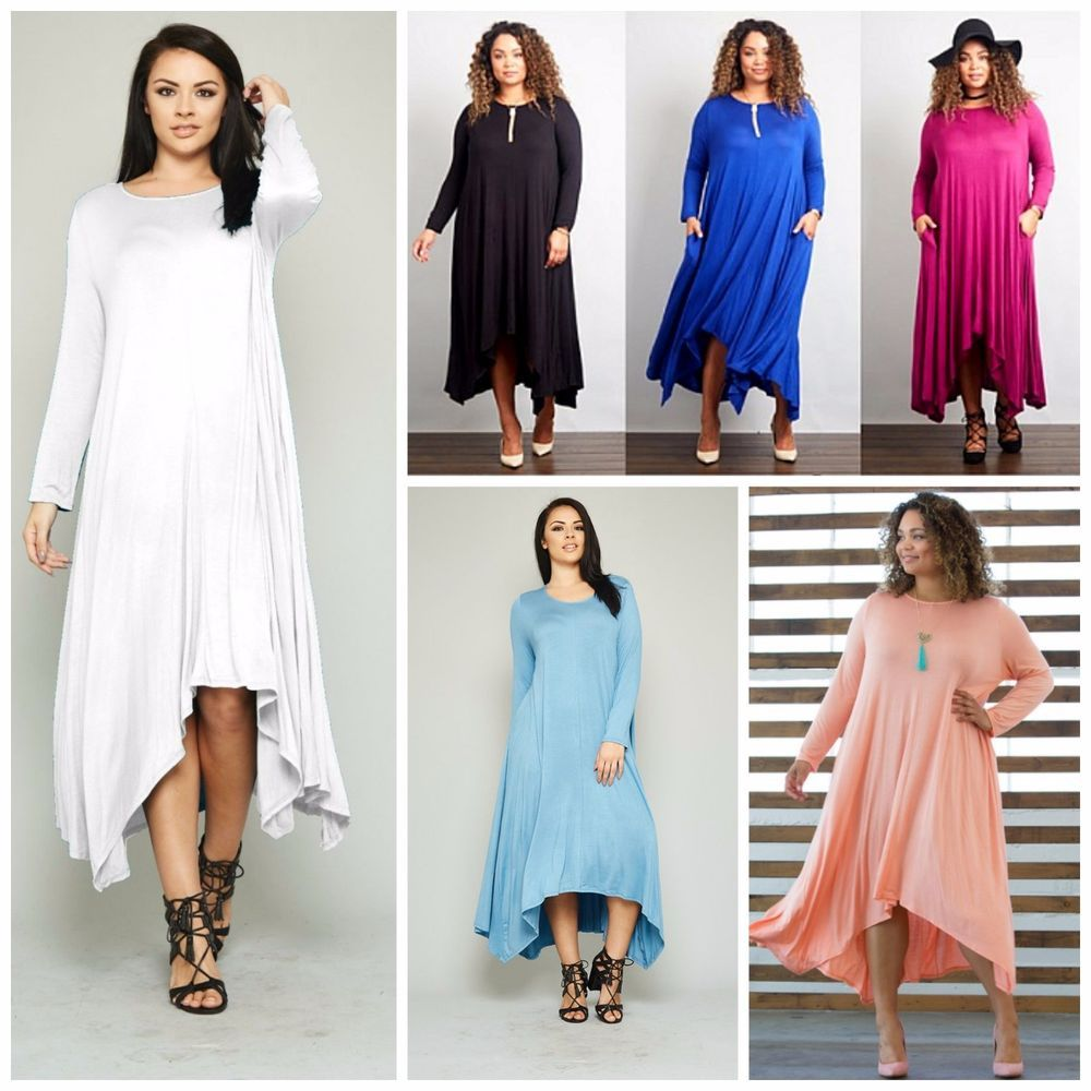 Plus size boho long sleeve flowy asymmetrical maxi dress colors x