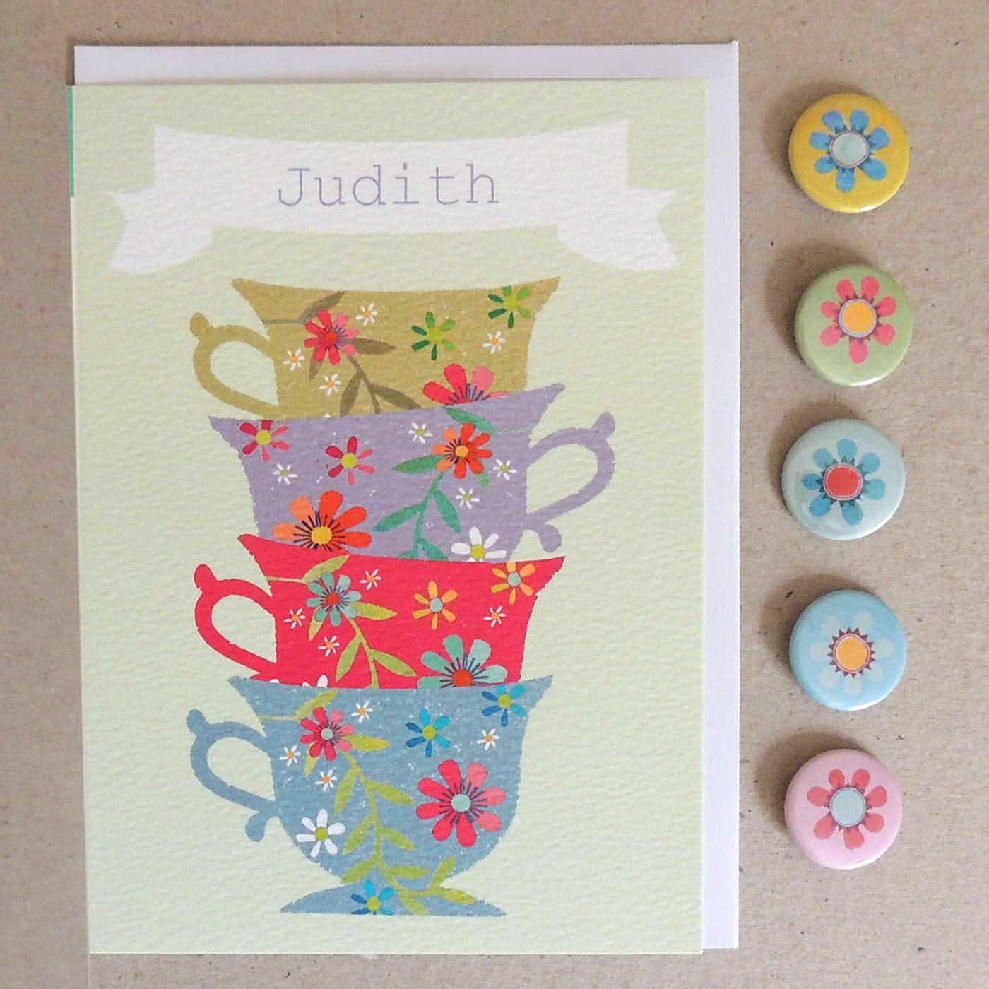 Personalised Teacup Card Cute Plain Greeting Card Personalised