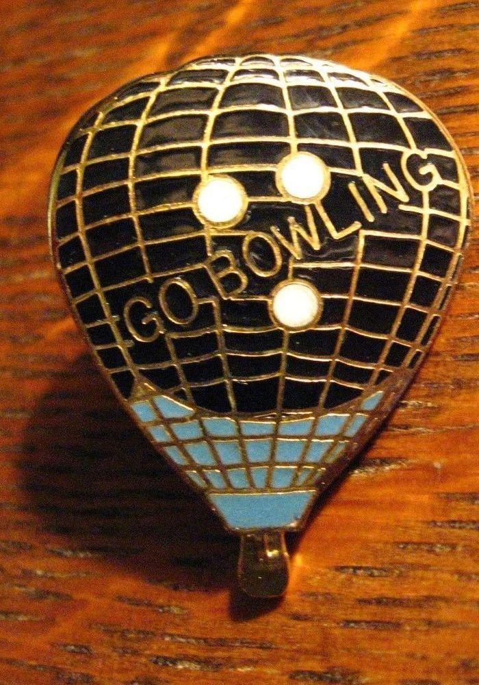 Go Bowling Lapel Pin Vintage Hot Air Balloon Bowler Ball