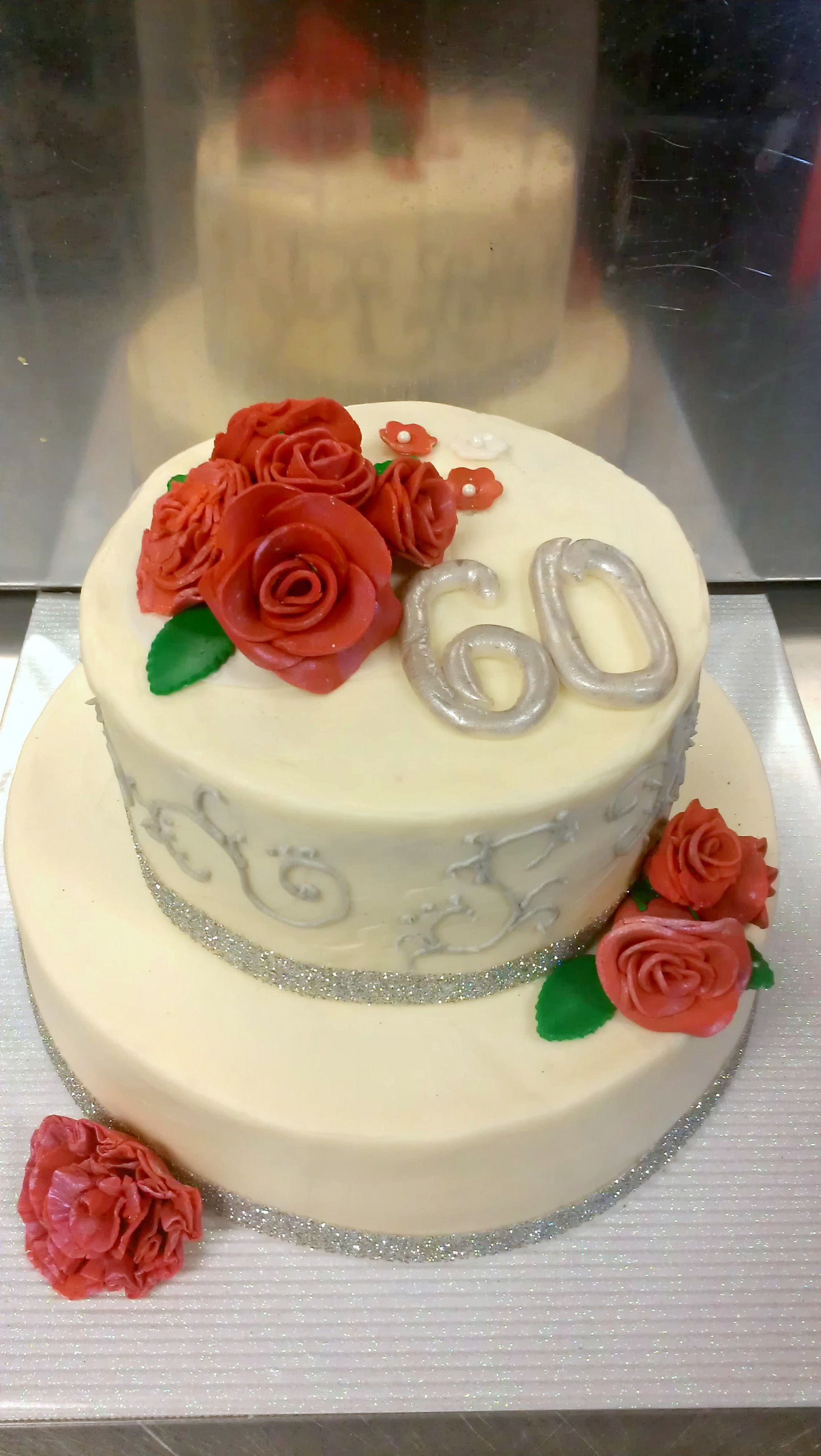 "Diamond Anniversary cake with gumpaste roses. ""60"