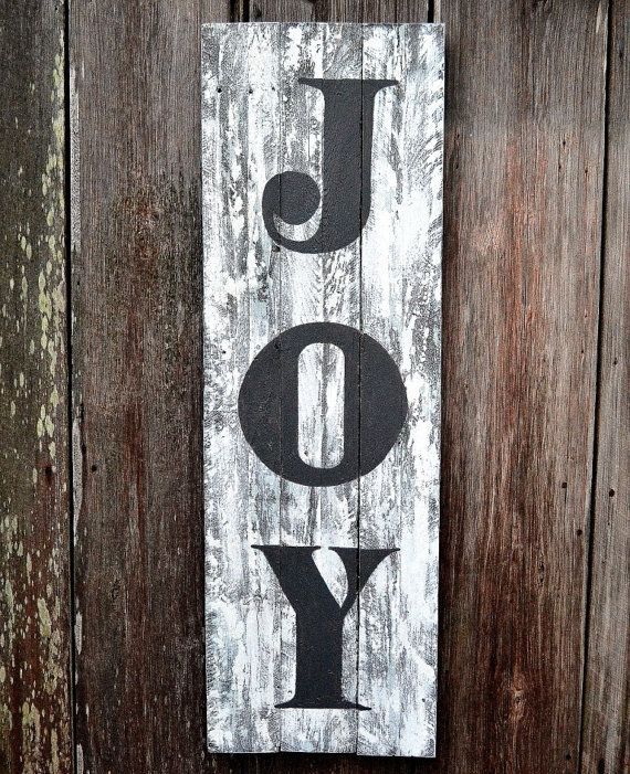 Vintage Sign Joy Sign Painted Wood Sign Rustic Wall Art Rustic