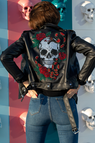 Crystal Skull & Roses Biker Jacket | Black Leather Jacket by Americano Crystals - Goth Clothing, Christmas Gifts, Black Friday Sale