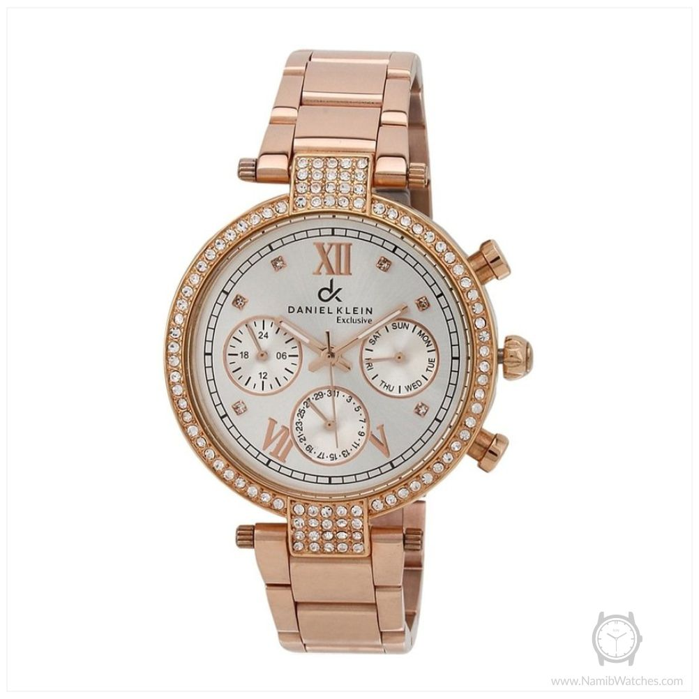 Daniel Klein Women's DK10441-1 Rose Gold Toned Stainless Steel Chronograph Watch with Studded Rhinestones