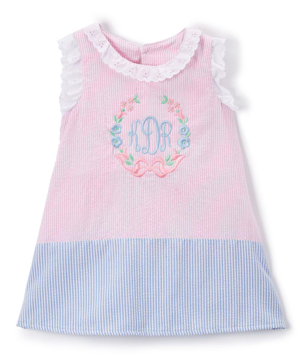 30d8fc56 Pink & Blue Ruffle Monogram Shift Dress - Infant & Toddler ...