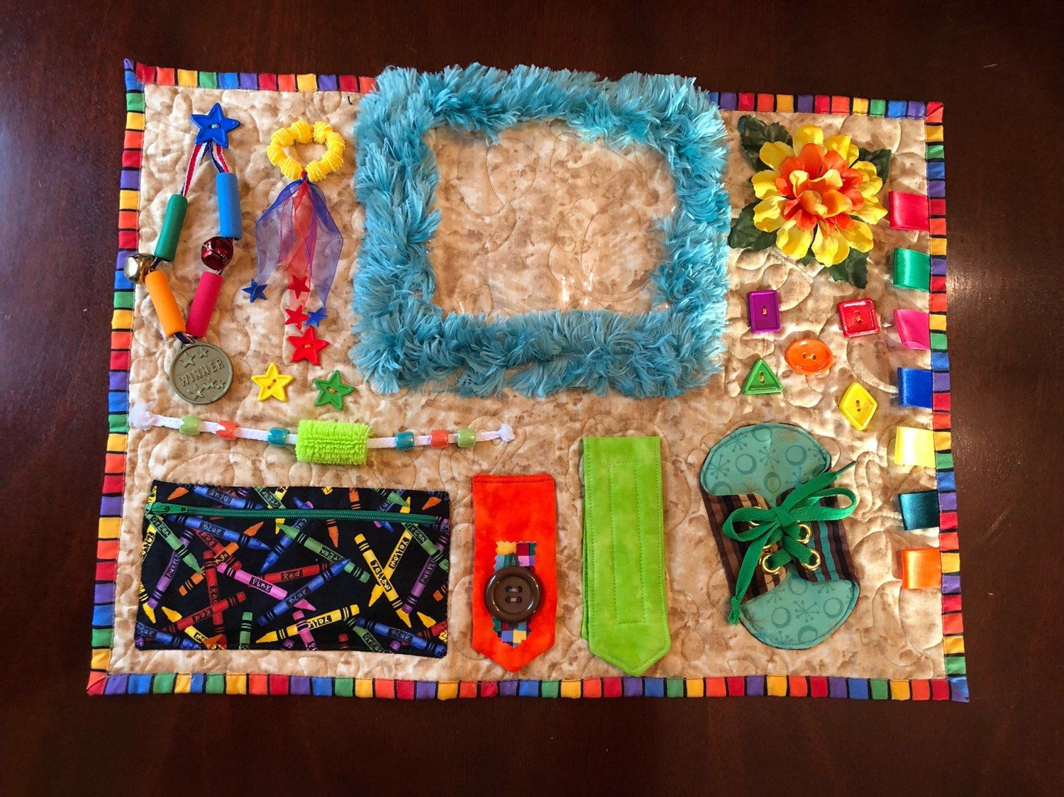 Alzheimers quilt also called fidget blanket is a etsy