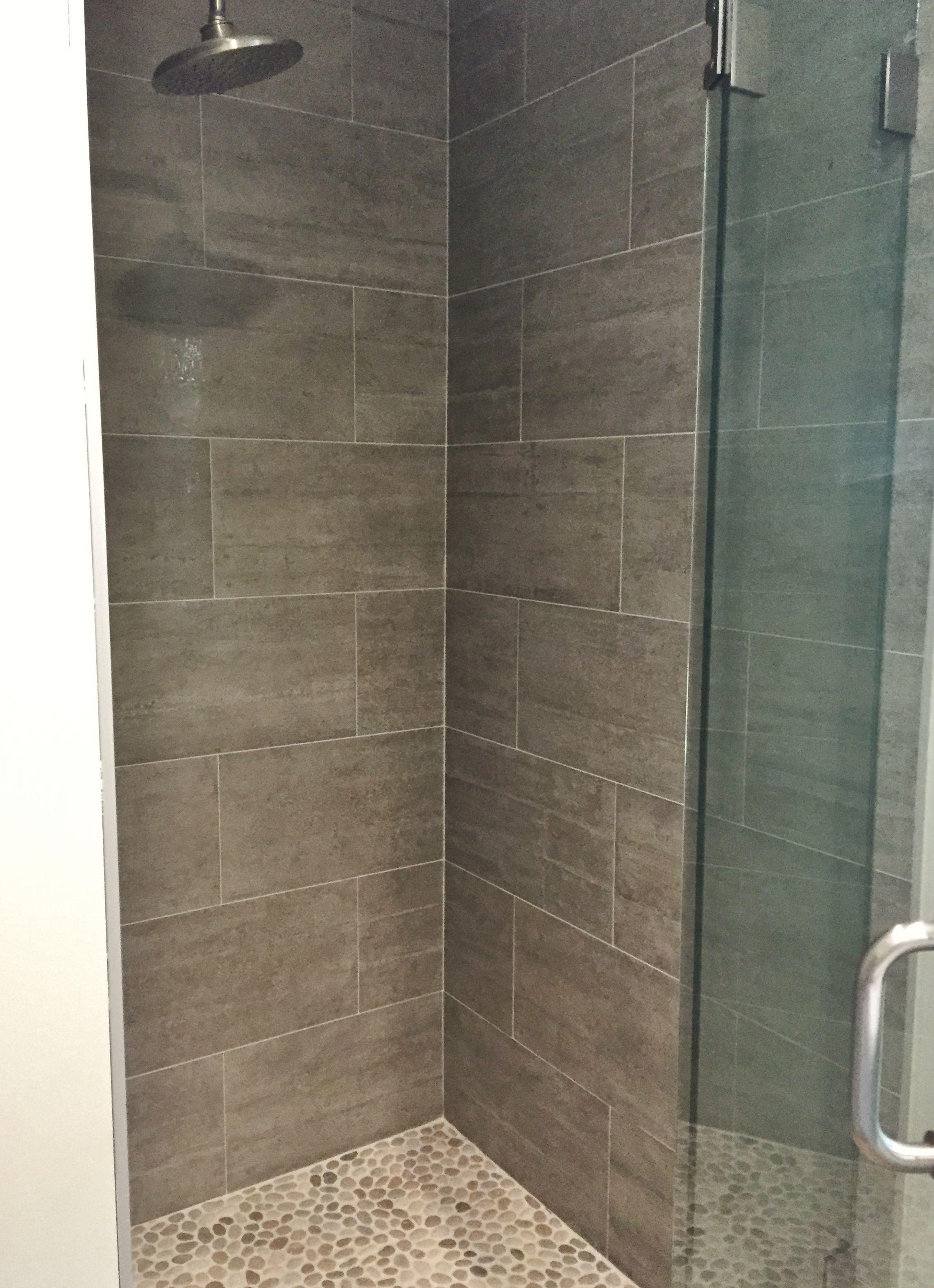 Master Shower 12x24 Porcelain Tile On Walls Pebbles On