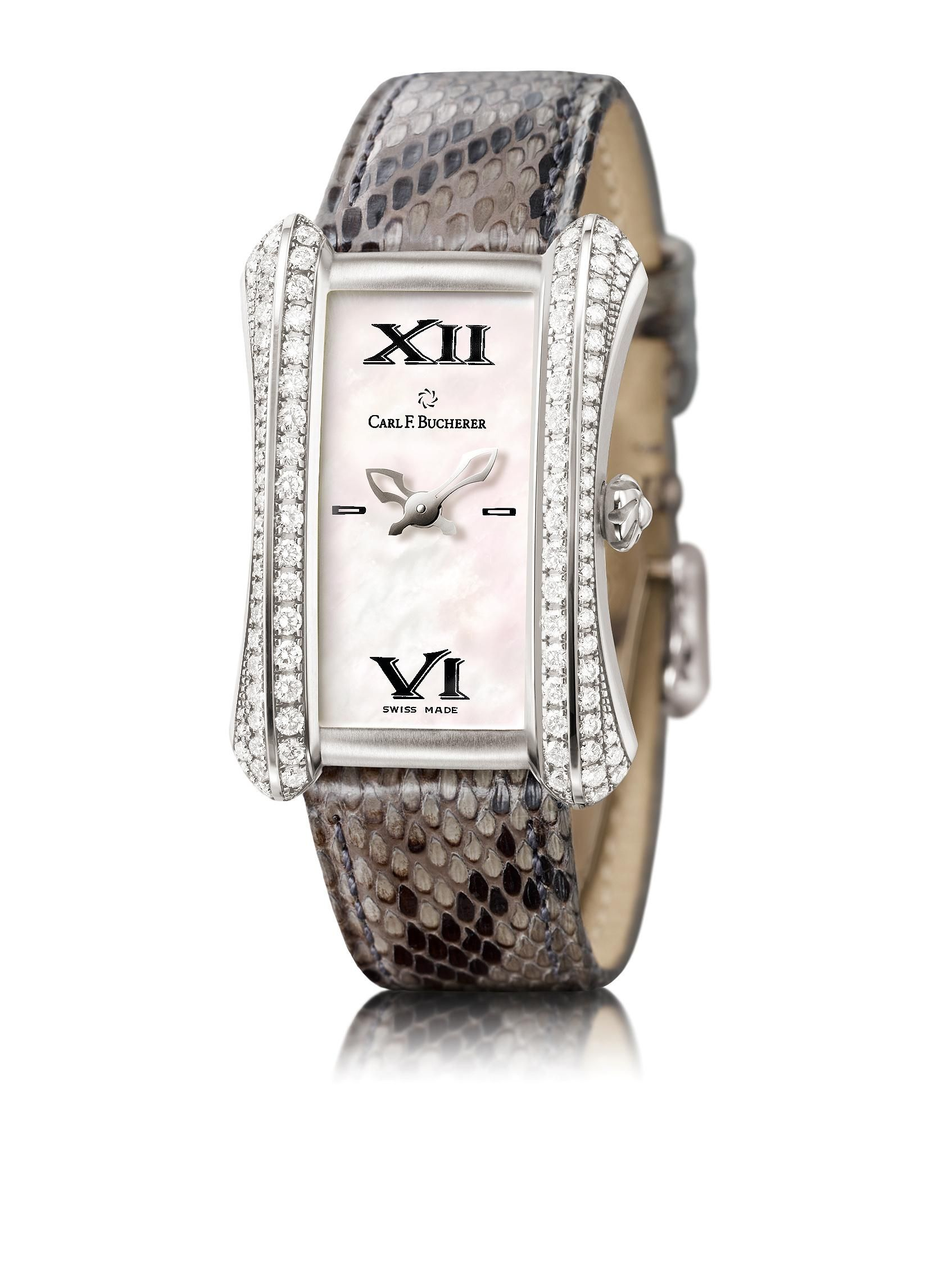 Carl F. Bucherer 18k White Gold Diamond Alacria with a Python Leather Strap with 18k White Gold Folding Clasp, White Mother of Pearl Dial, and 18k White Gold Diamond Case. 102 VVS Quality Diamonds, Total Diamond Weight is 1.60ct. $21,100.00