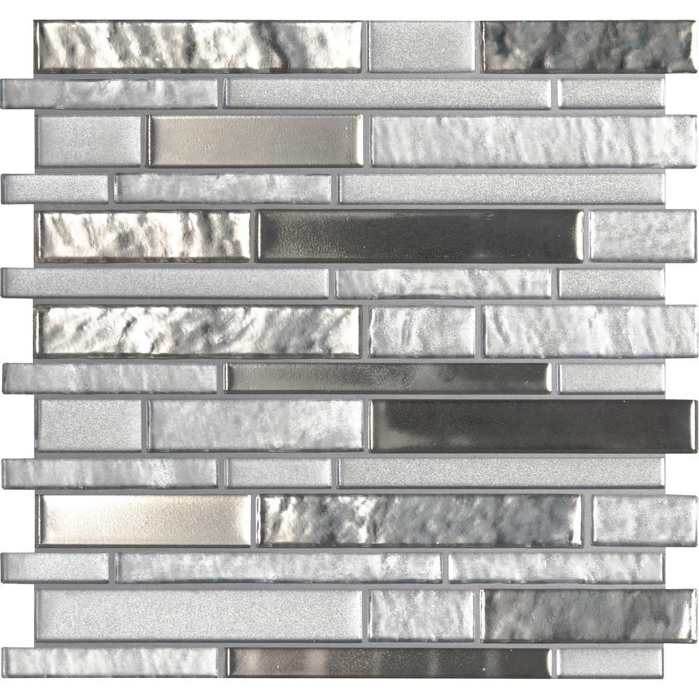 Msi Adara Interlocking 12 In X 12 In X 8mm Glass Mesh Mounted Mosaic Tile 10 Sq Ft Case Glsil Adara8mm The Home Depot Glass Tile Backsplash Glass Tile Backsplash