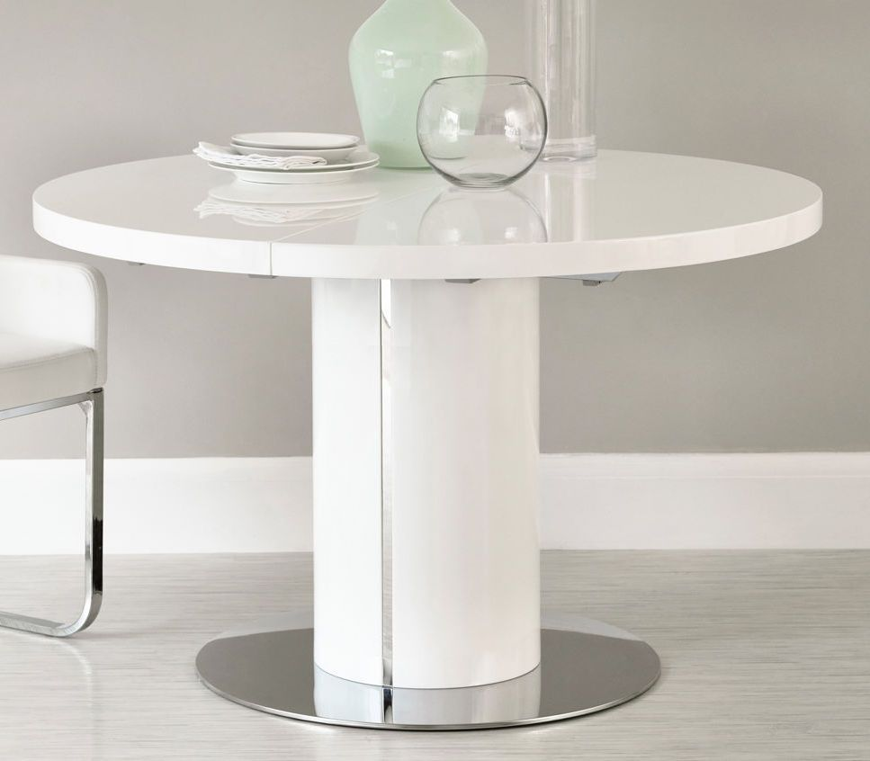 Curva round white gloss extending dining table dining rounding and round table top - Round white gloss dining table ...